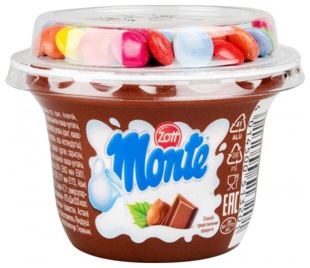Десерт Monte Молочный c шоколадом и лесными орехами с драже 13.7%, 70 г
