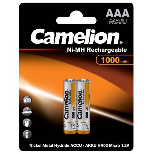 Фото - Аккумулятор Ni-Mh 1000 мА·ч Camelion NH-AAA1000, 2 шт. аккумулятор ni mh 1000 ма·ч camelion nh aaa1100 2 шт