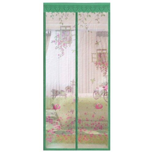 Дверная москитная сетка на магнитах универсальная с рисунком 100х210см Rosenberg зеленый R-400014