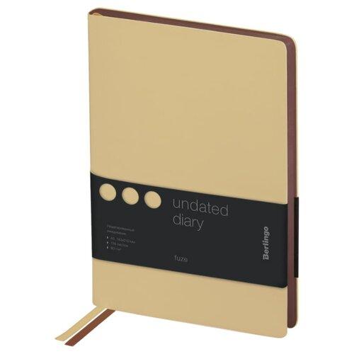 Купить Ежедневник Berlingo Fuze недатированный, искусственная кожа, А5, 136 листов, бежевый, Ежедневники, записные книжки