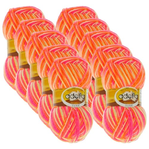Купить Пряжа Adelia Jane, 100 % акрил, 50 г, 227 м, 10 шт., 16 яр.жёлтый-яр.оранжевый-яр.розовый
