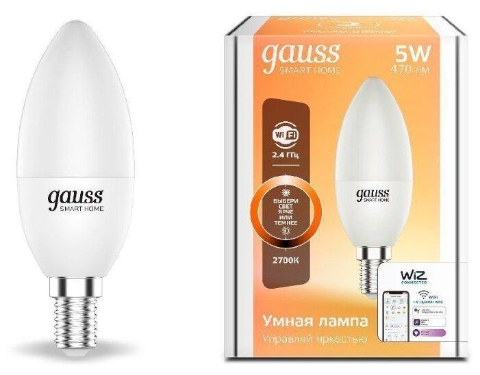 Лампа светодиодная gauss 1100112, E14, C37, 5Вт фото 1