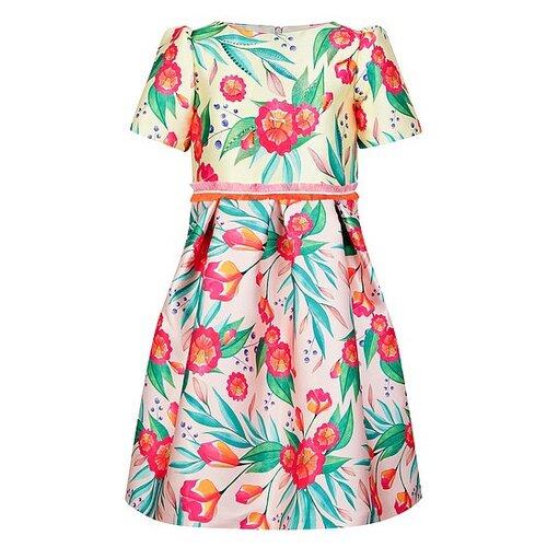 Платье EIRENE размер 116-122, желтый/розовый/цветочный принт платье eirene размер 170 черный желтый красный