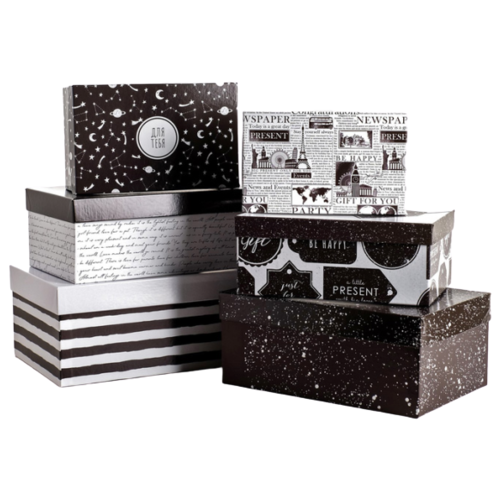 Фото - Набор подарочных коробок Дарите счастье Универсальный, 6 шт. черный/белый набор подарочных коробок дарите счастье универсальный 10 шт бежевый белый черный