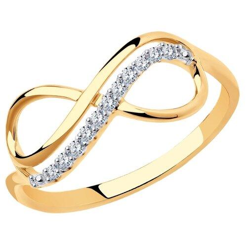 SOKOLOV Кольцо бесконечность из золота с фианитами 016622, размер 18.5