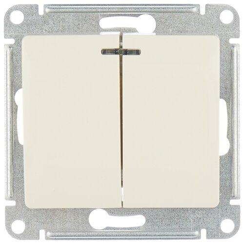 Выключатель 2х1-полюсный Schneider Electric GSL000253 GLOSSA, 10 А, бежевый выключатель 1 полюсный schneider electric atn000211 atlasdesign 10 а бежевый