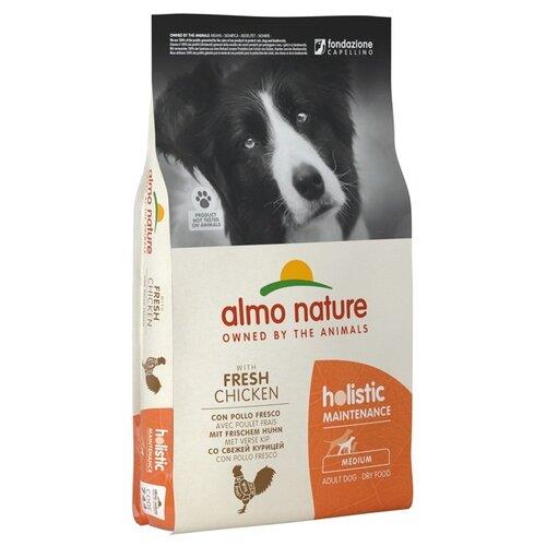Сухой корм для собак Almo Nature Holistic, курица 12 кг (для средних пород) сухой корм для щенков almo nature holistic курица 12 кг для мелких пород