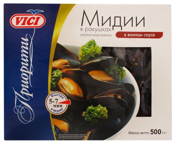 Vici Мидии в ракушках варено-мороженые в винном соусе 500 г