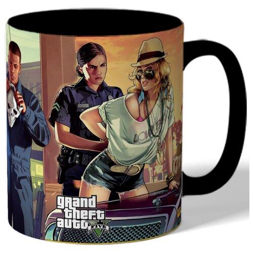 Кружка с рисунком По мотивам GTA, полиция, девушка и 2 бандита