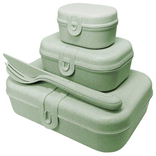 Набор из 3 ланч-боксов и столовых приборов Koziol PASCAL Organic зеленый