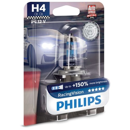 цена на Лампа автомобильная галогенная Philips Racing Vision 12342RVB1 H4 12V 60/55W 1 шт.