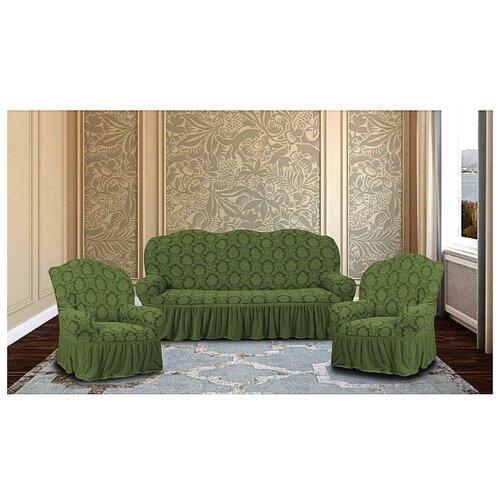 Комплект чехлов Жаккард на 3-х местный диван и 2 кресла, 514/311.008, Karteks