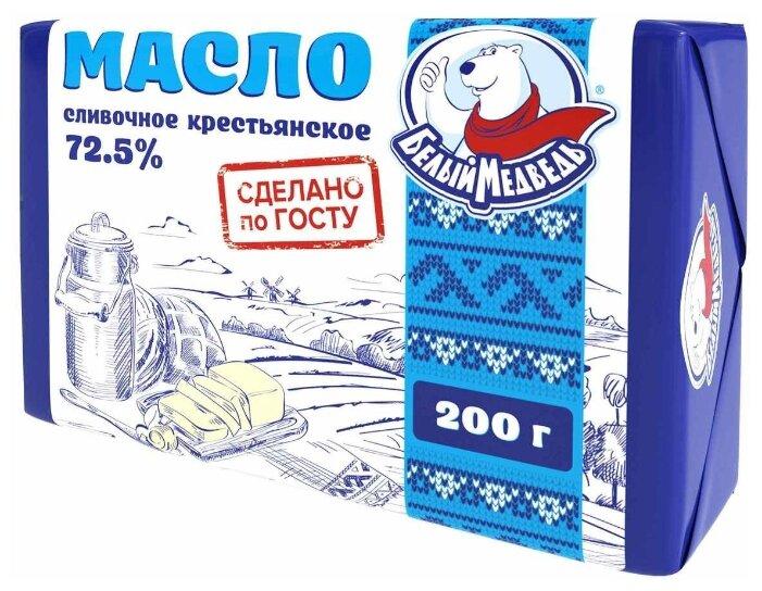 Белый Медведь Сливочное масло крестьянское 72.5%, 200 г