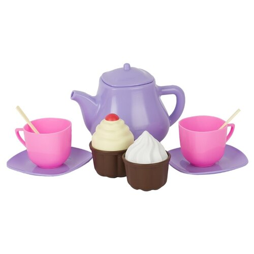 Купить Набор продуктов с посудой СТРОМ Лакомка У960 фиолетовый/розовый, Игрушечная еда и посуда
