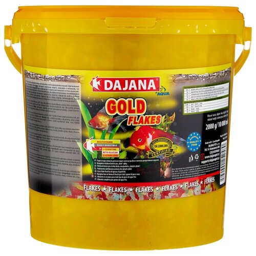 Сухой корм для рыб Dajana Pet Gold Flakes 10000 мл 2000 г сухой корм для рыб dajana pet malawi flakes 1000 мл 200 г