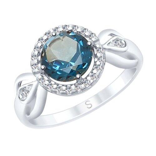 SOKOLOV Кольцо из серебра с синим топазом и фианитами 92011674, размер 19 фото