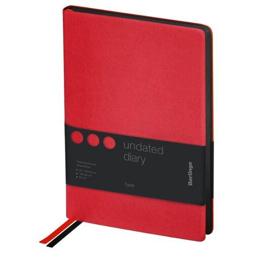 Купить Ежедневник Berlingo Fuze недатированный, искусственная кожа, А5, 136 листов, красный, Ежедневники, записные книжки