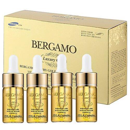 Bergamo Luxury Gold Caviar Wrinkle Care Intense Repair Ampoule Сыворотка ампульная с золотом и экстрактом икры для интенсивного восстановления кожи лица, 13 мл (4 шт.) цена 2017