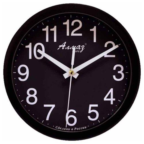 цена на Часы настенные кварцевые Алмаз E52-E55 черный