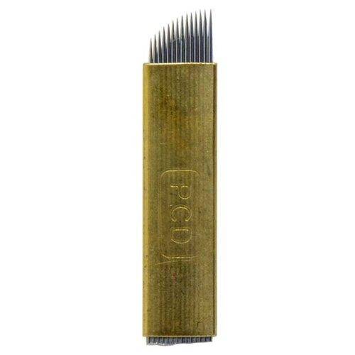Иглы PCD 14 для микроблейдинга 1 шт. золотистый мини набор для мануального татуажа микроблейдинга