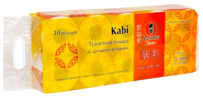 Туалетная бумага Maneki Kabi С ароматом ромашки белая трёхслойная