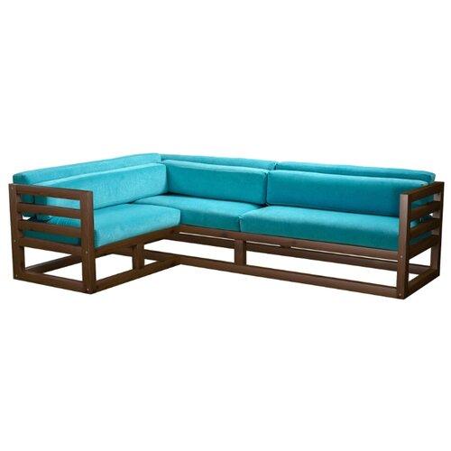 Угловой диван AnderSon Магнус угол: слева, размер: 250х170 см, обивка: ткань, орех/бирюзовый диван угловой диван магнус магнус