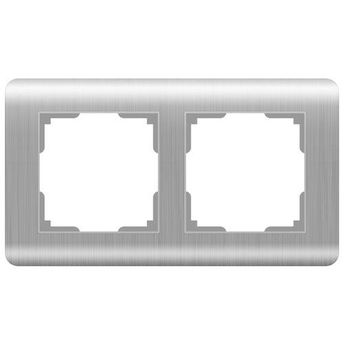 цена Рамка 2п Werkel WL12-Frame-02, серебристый онлайн в 2017 году