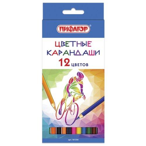 Купить Пифагор Карандаши цветные Быстрее! Выше! Сильнее! 12 цветов (181356), Цветные карандаши