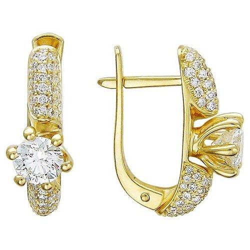 Эстет Серьги с бриллиантами из желтого золота 750 пробы 01С644146 фото