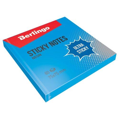 Berlingo Самоклеящийся блок Ultra Sticky Neon 7,5 х 7,5 см 80 л синий неон блок самоклеящийся бумажный stickn 21497 76x76мм 90лист неон зеленый усиленный клей