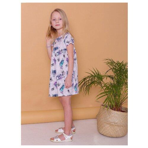 Платье Paprika размер 98-104, серый/синий/фиолетовый