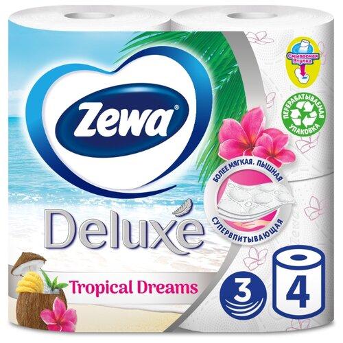Туалетная бумага Zewa Deluxe белая трёхслойная 4 рул. туалетная бумага zewa миндальное молочко 42 л