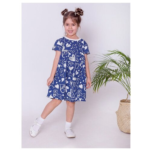 Платье Paprika размер 128-134 , синий/белый