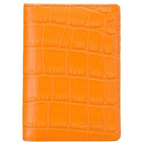 """Обложка для автодокументов Dr.Koffer """"Крокодиловая кожа"""" X510177-171-58, оранжевый"""
