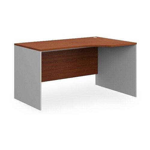 Письменный стол угловой Pointex Point угловой, ШхГ: 140х90 см, угол: справа, цвет: серый каркас/столешница орех