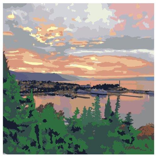 закат в морской бухте раскраска картина по номерам на холсте ets258 4040 40х40 Закат в морской бухте Раскраска картина по номерам на холсте ETS258-4040 40х40