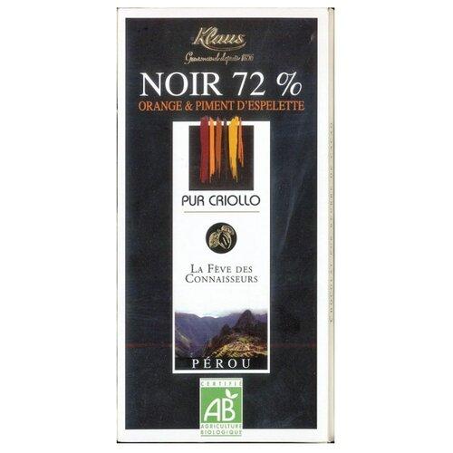 шоколад ameri горький 57% с лимоном и черным перцем 100 г Шоколад Klaus горький с какао из Перу с апельсином и перцем, 100 г