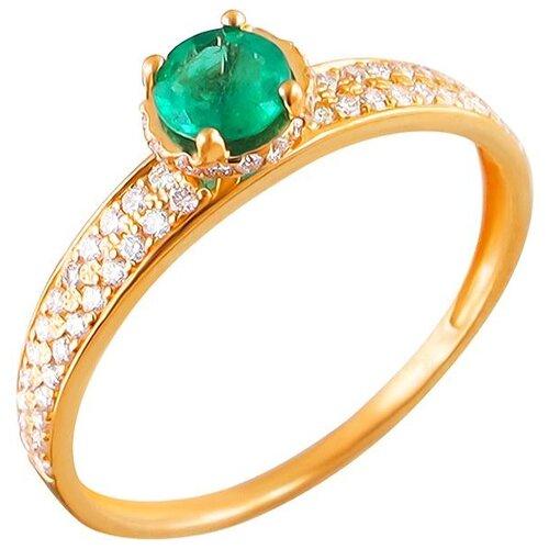 Эстет Кольцо с изумрудом и бриллиантами из красного золота 01К615248-2, размер 18 ЭСТЕТ