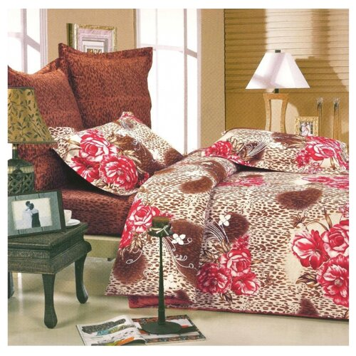 Постельное белье 2-спальное СайлиД B-57, сатин красный / зеленый постельное белье сирень постельное белье 2 спальное кпб сайлид