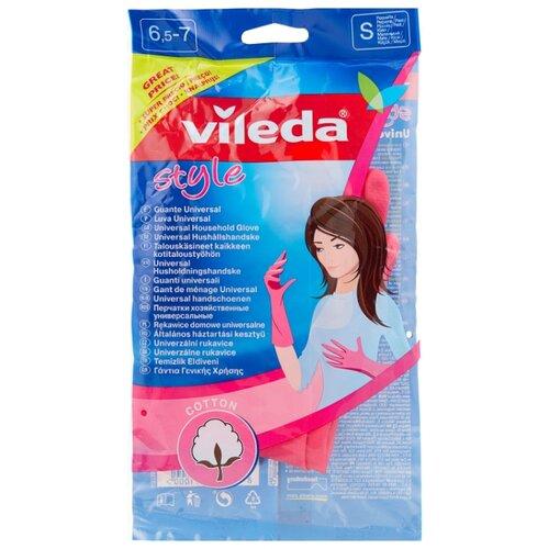 Перчатки Vileda Style, 1 пара, размер S, цвет розовый