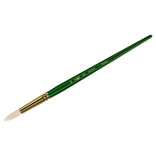 Купить Кисть ГАММА Пейзаж щетина №10, круглая, длинная ручка зеленый, Кисти