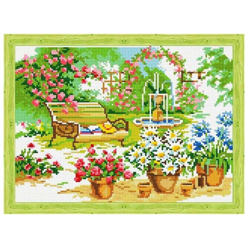 Алмазная вышивка Цветной Скамейка в саду, 40x30