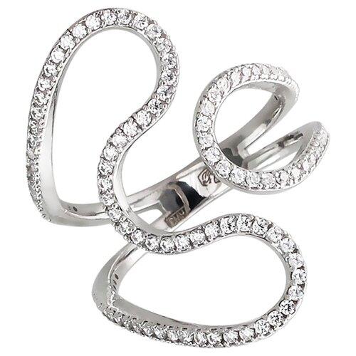 Эстет Кольцо безразмерное с фианитами из серебра 01К159214, размер 17