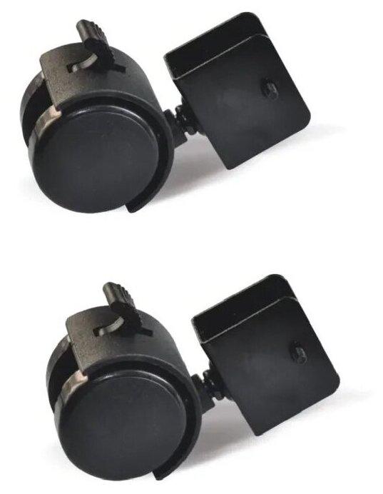 Купить Набор 2 шт Колесо мебельное поворотное П-образный крепеж d50 мм с тормозом черный пластик Колёсник по низкой цене с доставкой из Яндекс.Маркета (бывший Беру)