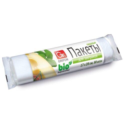Пакеты для хранения продуктов GRIFON Bio для завтраков, 28 см х 17 см, 1 л, 80 шт