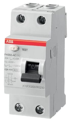 УЗО ABB 30мА тип AC FH202 2 полюса