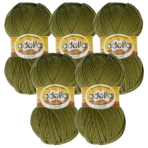 Купить Пряжа Adelia Lucas, 70 % шерсть, 30 % акрил, 100 г, 218 м, 5 шт., №21 оливковый