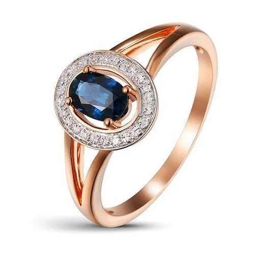 ЛУКАС Кольцо с сапфиром и бриллиантами из красного золота R01-D-1983095AS-R17, размер 17.5 кольцо из золота r01 d 68997r001 r