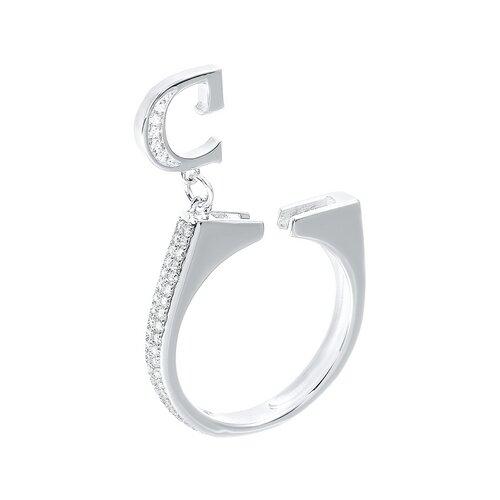ELEMENT47 Кольцо из серебра 925 пробы с кубическим цирконием R27208_KO_001_WG, размер 18