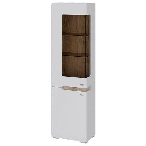 цена на Шкаф-витрина для посуды ТриЯ Квадро 281.07.25 L, (ШхГхВ): 54.2х35.6х194.2 см, белый глянец/дуб делано